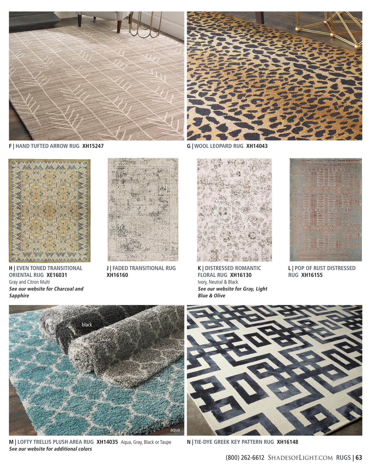 (800) 262 6612 ShadesofLight.com RUGS | 63