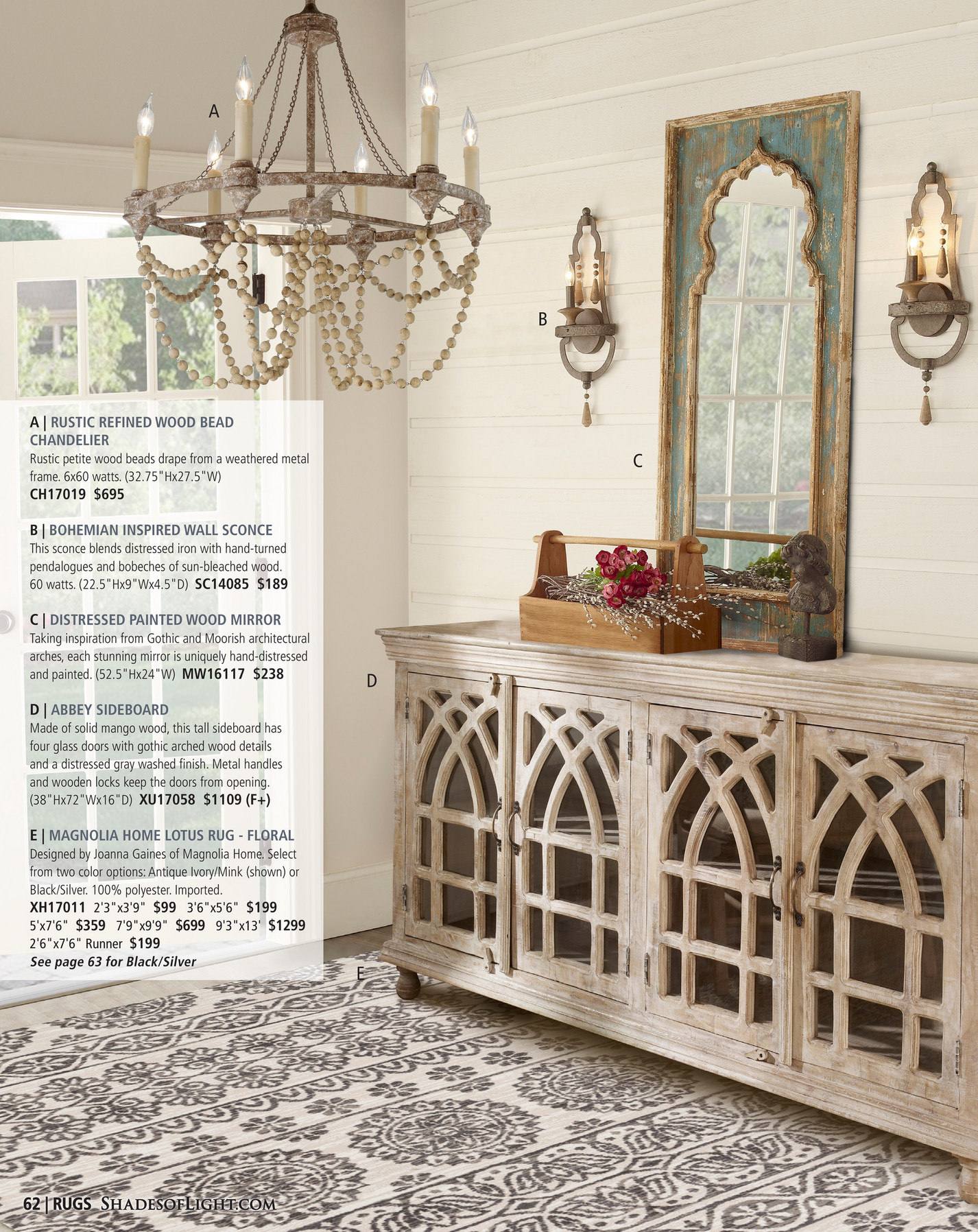 A B Rustic Refined Wood Bead Chandelier C Petite Beads D From