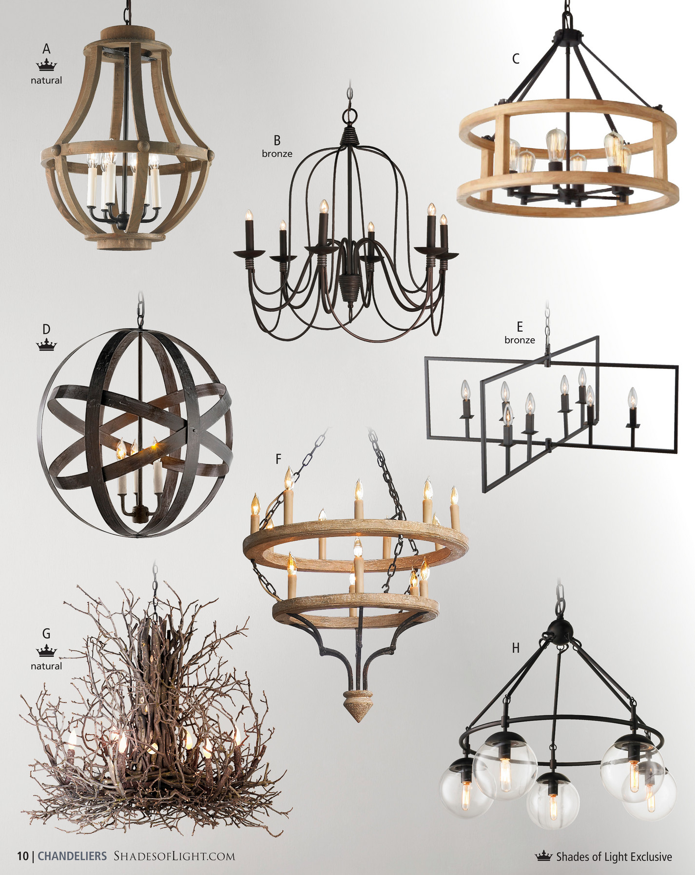 Shades of light modern farmhouse 2017 multi glass orb chandelier a c natural b bronze e d bronze f g h natural 10 chandeliers shadesoflight aloadofball Images